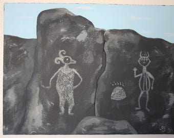 Petroglyph painting, New Mexico petroglyphs at Three Rivers