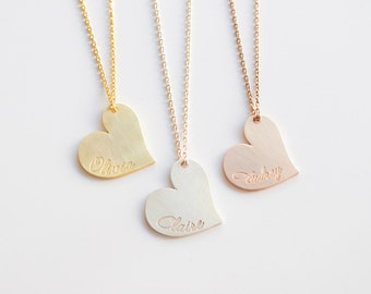 Engraved Heart Necklace,Personalized Heart Necklace,Charm Necklace