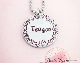 Childs personalized name necklace-- hot pink in color