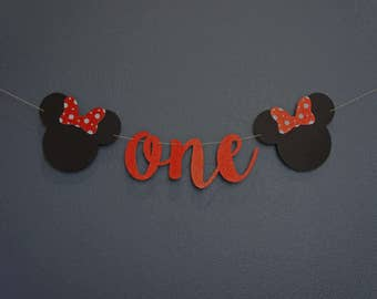 ONE Red Glitter Minnie-themed High Chair Banner Sign | Custom, Personalized Name | 1st Birthday Party, Cake Smash, Premium Double-Backing