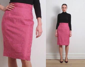 90s Ungaro Ter Pink Linen Pencil Skirt / S