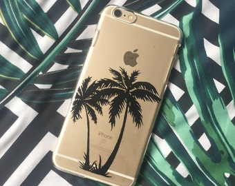Unique black silhouette tropical palm tree |summer transparent | clesr phone cover | case for iPhone and Samsung Galaxy