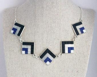 Art Deco style mosaic tile necklace - blue