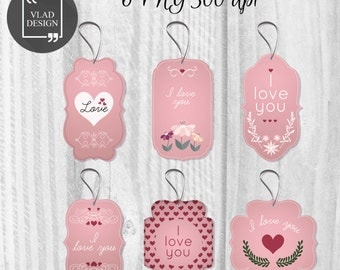 6 Printable Valentine's Tags Valentine's Gift Tags Love labels Instant download DIY Romantic giftd Tags Wedding tags explanation of love