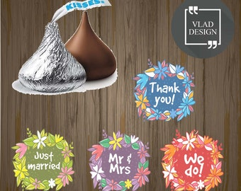 4 Designs Wedding Hershey's Kisses Sticker Labels - .75 inch Round Wedding round label Favors label Sweets label Floral Hershey's Sticker