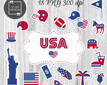 18 USA digital elements Independence Day clipart Instant download US style clipart 4 July day Flag's elements US symbols illustration