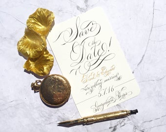 Full calligraphy save the date. Custom calligraphy save the date. Handmade save the date. Elegant fancy wedding invitations. Gala script