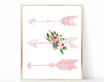 Arrows Nursery Art. Pink Arrows Nursery Art.  Floral Tribal Nursery Decor. Arrows Nursery Print. Girl Tribal Nursery. Floral Arrows Print.
