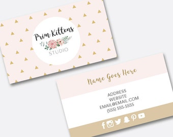 Business Card Design, Premade Business Card, Pastel Pink Rose Gold Triangle Geometric