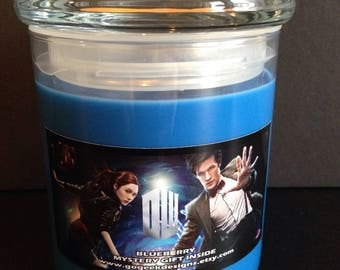 22oz Doctor Who themed Blueberry Scented Candle made with 100% soy wax and with a mystery prize inside!
