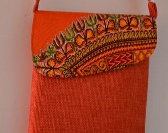 African Bag/Ankara Bag/Messenger Bag/ Handbag/Woven Bag/Crossbody Bag/ Camera Bag/Boho Bag/Cotton Shoulder Bag/Dashiki Bag/Tribal Bag/Orange