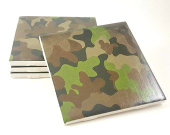 Camouflage Coasters - Drink Coasters - Ceramic Tile Coasters - Military Coasters - Ceramic Coasters - Gifts for Him - Tile Coasters