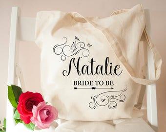 Personalised Bride To Be Tote Bag-Bridesmaid Canvas Bag-Stylish Cotton Bag-Bridal Party Bags-Wedding Tote Bag- Bride to be bag-bags & totes