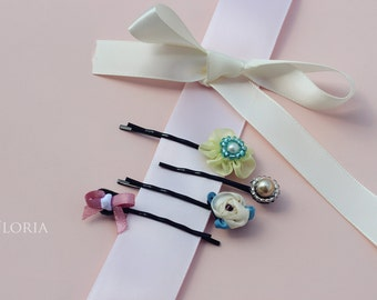 Girls Hair pin set -Hair accessory- Glass beads- Acrylic beads- Ribbons- Bow- Flower- floral- girly- delicate- embellished-