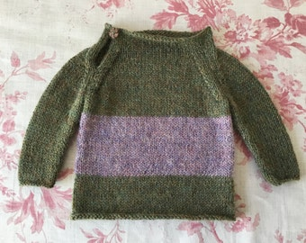 Knitted baby jumper gorgeous green/lilac alpaca 0-3 mths