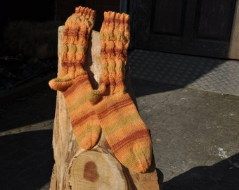 Handknitted socks size 37/38 in Orange tones