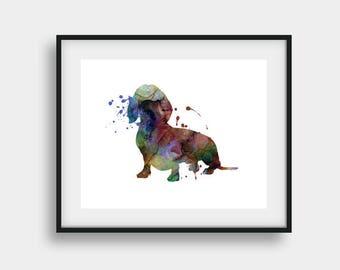 Dachsund Print, Dachsund Art, Nursery Wall Decor, Childs Room Decor, Dog Nursery Art, Watercolor Art, Dog Art Print, Dog Print, Dog Poster