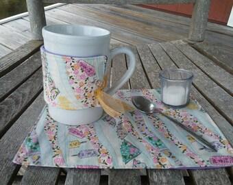 Mug cozy and mug rug gift set / Mug mat and tea cup cozy / Tea time / Oriental Chinese lanterns and fans / Oversized coaster / Gift under 20