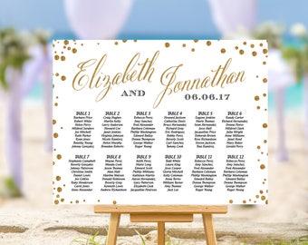 SALE 50% off, Wedding seating chart alphabetical, Gold  Wedding Seating Chart, Gold Confetti Wedding Seating Chart | W12SE