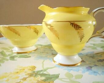 Striking yellow Rosina bone china milk jug and sugar bowl, made in England