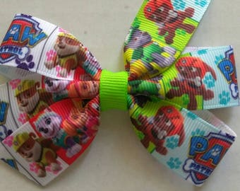 Paw Patrol hair bows, Paw patrol inspired pigtail bows, character pigtail bows, birthday bows, girl Skye hair bow, Everest hair bow