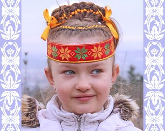 Girl Headband Alatir; Russian embroidered Headband