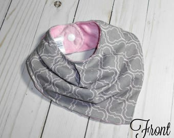 Gathered Bibdana | Grey Pink Geo