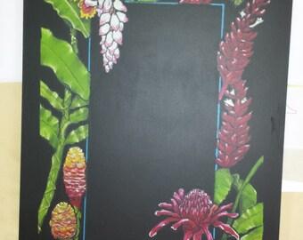 Ginger Plant Flowers Blackboard/Memos/Kitchen Message Board/Shopping List/To Do List/Organizer/Chalkboard/Meal Planner/Memo Board