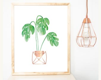 Poster, print, plant, palm leaves, greenery