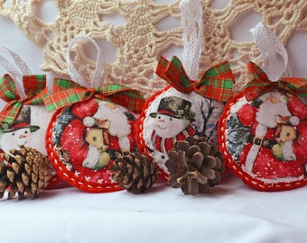 Red Christmas Ornament with Snowman and Santa, Gift for Xmas, felt handmade toys