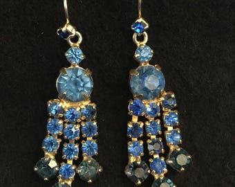 Vintage 1950's Blue Rhinestone / Diamante Chandelier / Drop Earrings / Costume Jewellery