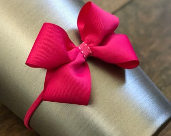 Large Pink Boutique Bow on Elastic Headband
