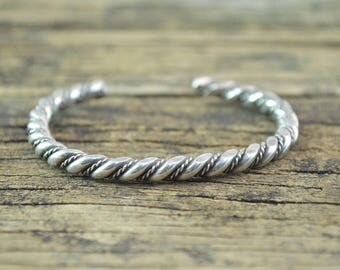 Twisted Rope Cuff Bracelet Sterling Silver 19.3g