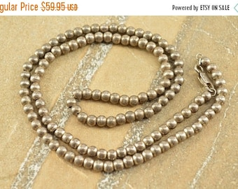 On Sale Vintage Style Ball Beaded Chain Necklace Sterling Silver 16.1g