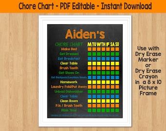 Chore Chart Printable Chore Chart for kids Chore Chart Dry Erase Chore Chart Responsibility Chart Boys Chore Chart Toddler Chore Chart