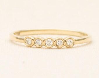 """Diamond """"Beads"""" 14K Gold Wedding Band Bezel Set Beaded Stacking Ring AD1215"""