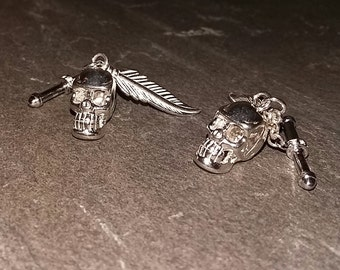 925 Sterling Silver Skull and Feather Cufflinks