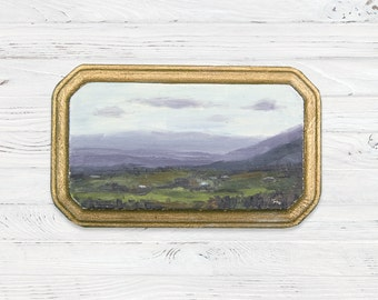 Oil Landscape Painting of Field and Mountains - Landscape Painting - Oil Painting - Painting - Mini Art
