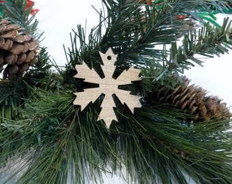 New christmas tree snow flake ornament. This Xmas Christmas tree ornament is ready for your touch  stain, varnish paint or glitter them.