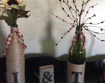 Rustic Wine Bottles, Wine Bottles, Sisal Twined Bottles, Center Piece for Wedding, Wrapped Wine Bottles