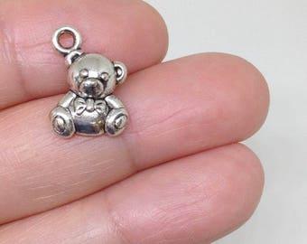15pcs Cute Little Chubby Bear charm, Teddy Bear charm, Grizzly charm, Baby Animal Charm, Baby Toy charm, Toy Charm