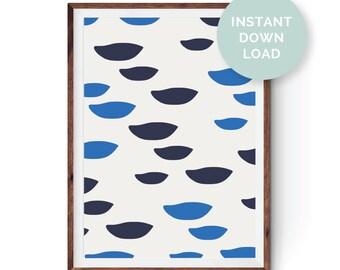 Blue Birds Digital Print, Instant Download, Abstract Print, Modern Print, Wall Art, Digital Download, Blue Print, Home Decor, Poster