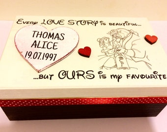Disney love story box personalised