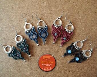 Macrame chandelier earrings with stone, Macrame Earrings, Macrame Jewelry, bohemian Earrings, boho jewelry, Macrame Jewelry, tribal earrings