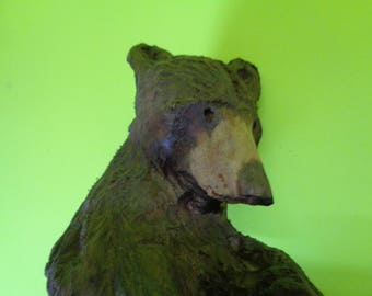 Hand Carved Wood Black Bear Signed Wall Art