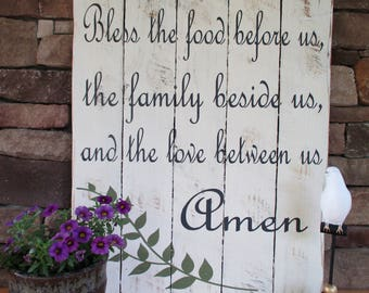 Bless The Food Before Us/Wood sign/Dining room/Blessing/Gift/ Housewarming Gift/Newlywood Gift/Dining Room Decor/Dining Room Wall Hanging