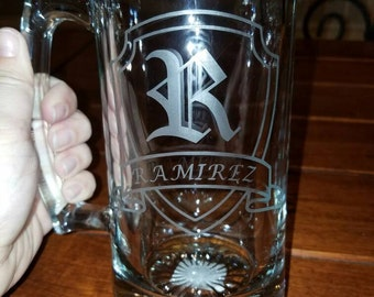 Custom Beer Mug with Name and Initial on Crest