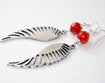 Wing Earrings Bohemian Earrings Dangle Wing Earrings Agate Earrings Drop Wing Earrings Tribal Earrings Bold Earrings