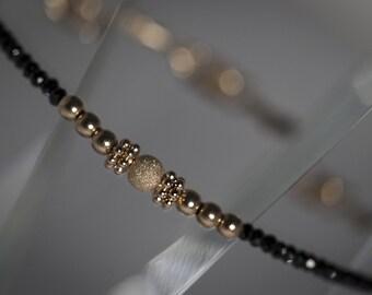 Black and Gold Gemstone Bracelet/Black Spinel Bracelet/Dainty Gemstone Bracelet/Delicate Black & Gold Bracelet/Jewellery/Dainty Jewellery