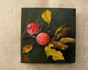 Two Pink Plums. Still Life. Original Oil Painting by KIMAZO 6x6 inch